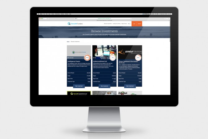 GrowthFunders Investment Dashboard and Pitch Listing Area including Invest Online Integration.