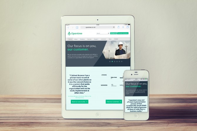 Opentree website on mobile and tablet