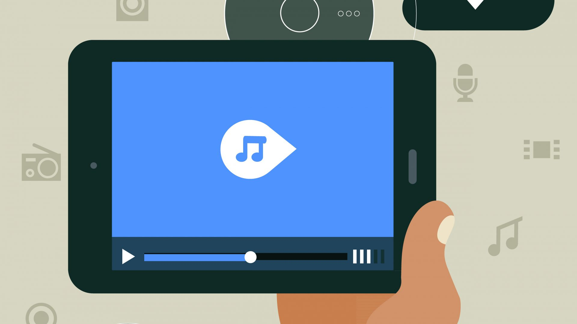 Concept of hand holding mobile device with media player responsive app