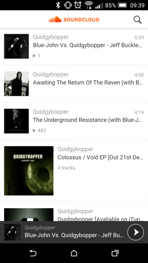 SoundCloud user interface on mobile image