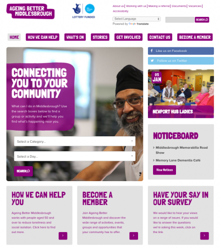 AgeingBetter Middlesbrough website